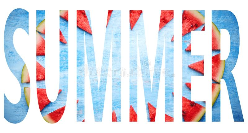 Summer-word with watermelon texture stock photography
