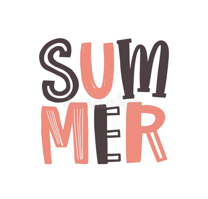 Summer word written with cool funky calligraphic font. Creative summertime lettering or text composition isolated on. White background. Flat seasonal vector vector illustration
