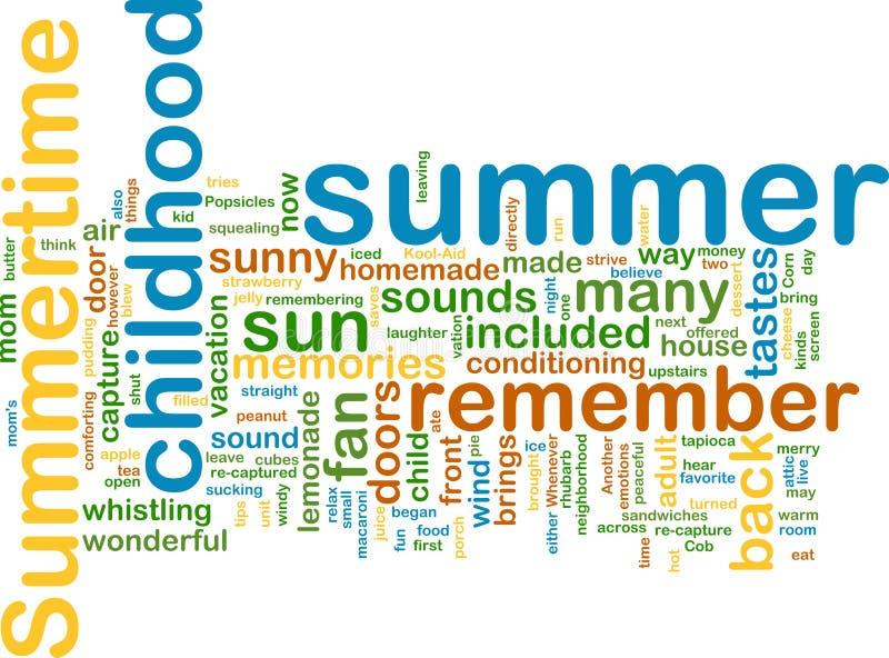 Summer wordcloud. Word cloud concept illustration of summer season stock illustration