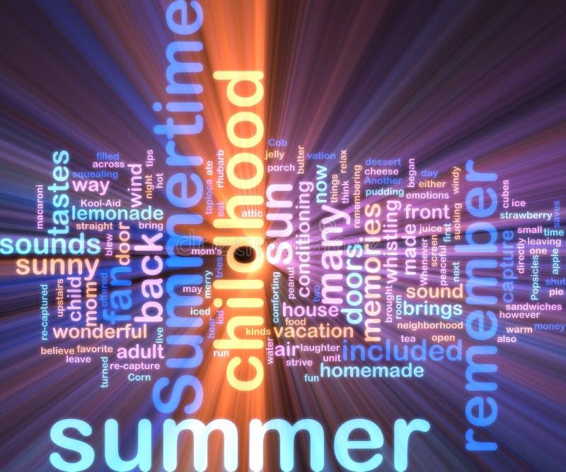 Summer wordcloud glowing. Word cloud concept illustration of summer season glowing neon light style stock illustration