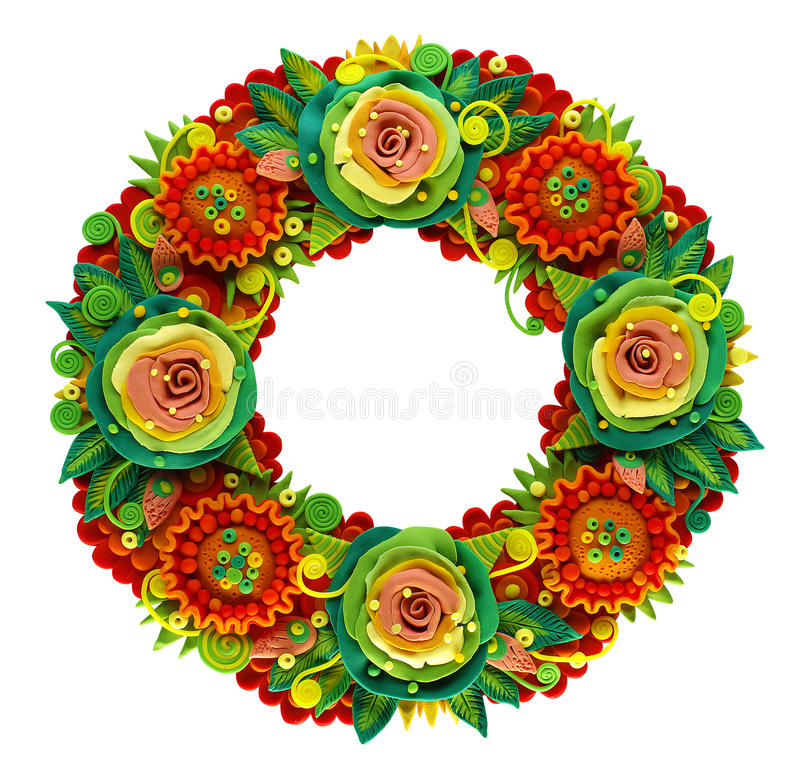 Summer wreath made in the modeling technique from plasticine stock images
