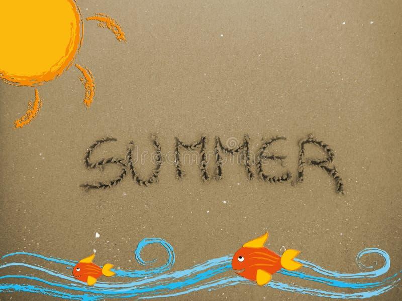 Summer written on the sand royalty free stock photos