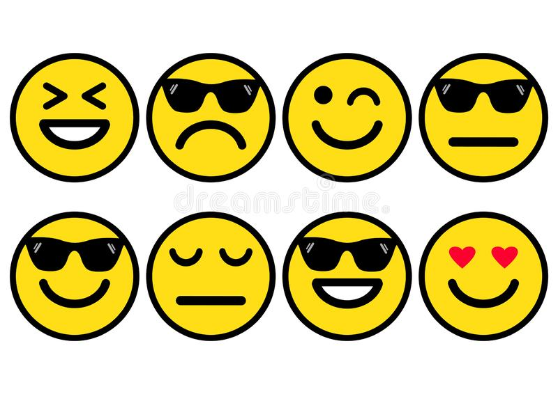Summer yellow smileys in sunglasses, emoticons icon positive, neutral and negative. Vector illustration. Summer yellow smileys in sunglasses, emoticons icon stock illustration