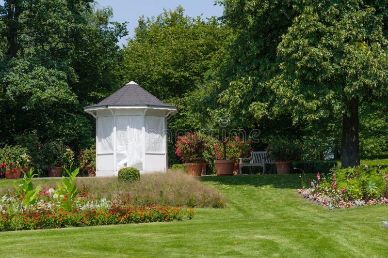 Summerhouse. In the summer Garden royalty free stock photos