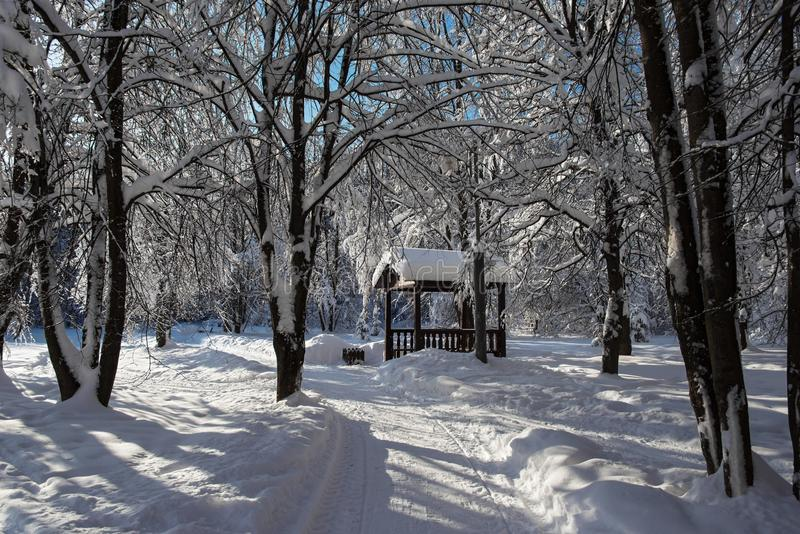Summerhouse i vinter parkerar royaltyfria foton