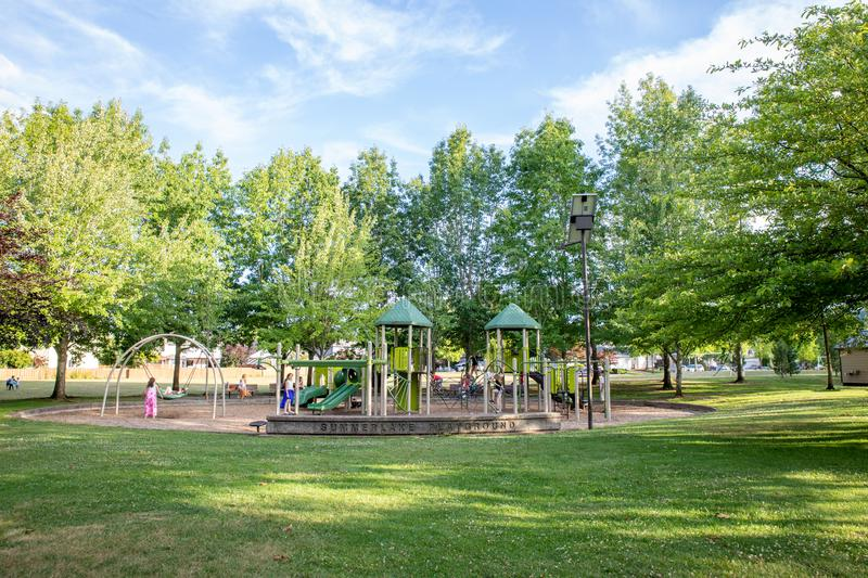 Summerlake City Park in Tigard, Oregon. Tigard, Oregon - June 29, 2019 : Summerlake City Park, Lakeside park featuring playgrounds & sports facilities royalty free stock photography
