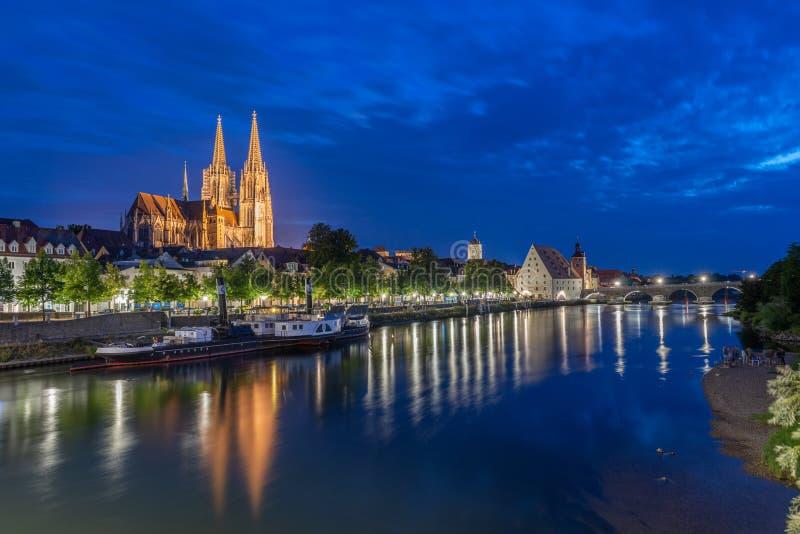Summernight in Regensburg stock photos