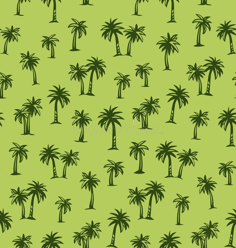 Palm tree. Vector drawing. Summertime african rainforest scenic view on green plantation fond. Freehand outline black ink hand drawn eco floral palmtree logo vector illustration