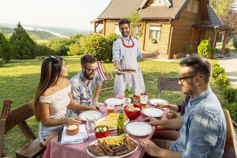 Summertime backyard barbecue party royalty free stock photography