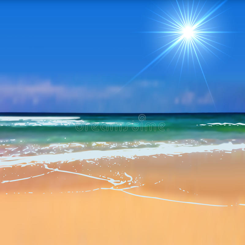 Background Of Blurred Beach And Sea Waves With Bokeh: Summertime Beach Background Stock Vector