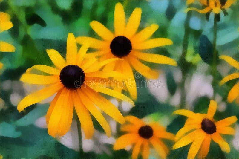 Summertime Black-eyed-Susan Flowers Painting. stock photos