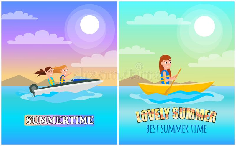 Summertime Boating Collection Vector Illustration. Summertime boating collection poster with headline, boat for summer sport and activity, sea under bright sun stock illustration