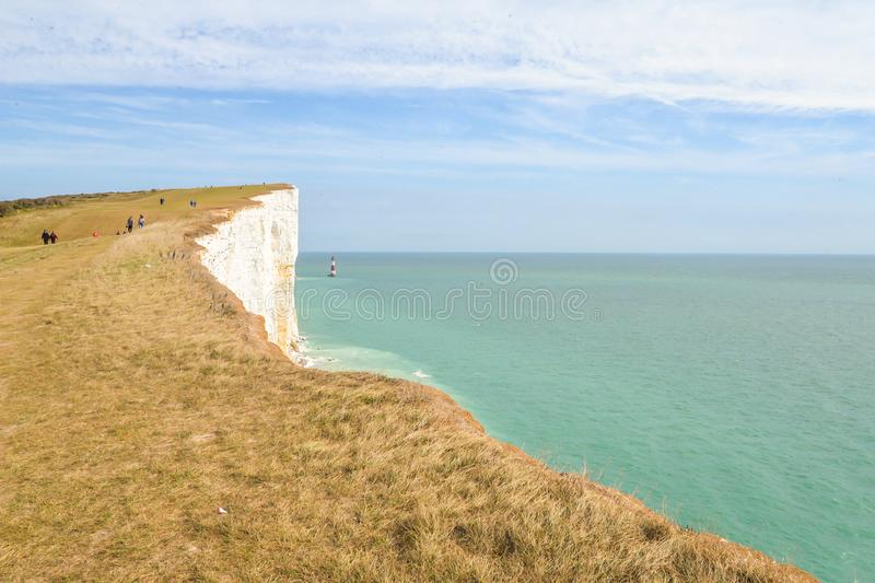 Summertime coastal path along cliffs. The coastal path from Eastbourne to East Dean, across the highest chalk cliffs in the United Kingdom royalty free stock images