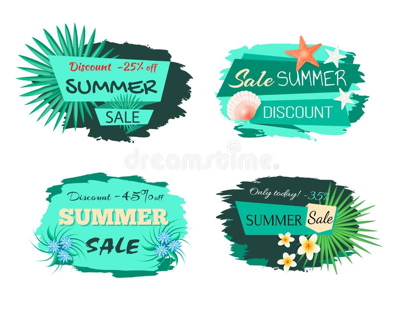 Summertime Green Labels with Foliage, Palm Trees stock illustration