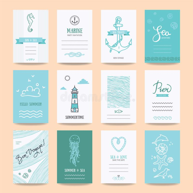 Summertime Holiday Cards, Travel Posters Templates stock illustration
