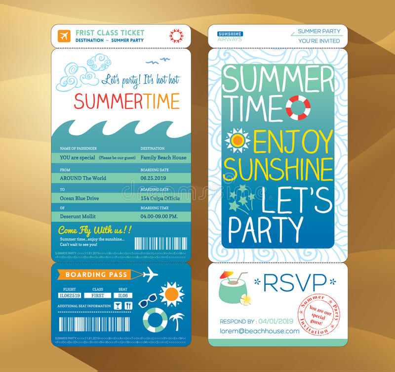 Summertime holiday party boarding pass background royalty free illustration