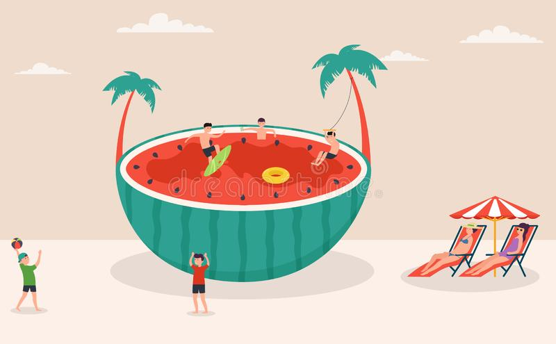 Summertime holiday scene, huge watermelon surfing, games in water and on beach, beach volleyball, characters royalty free illustration