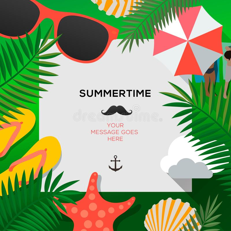 Summertime Holiday and Summer Camp poster, vector illustration. royalty free illustration