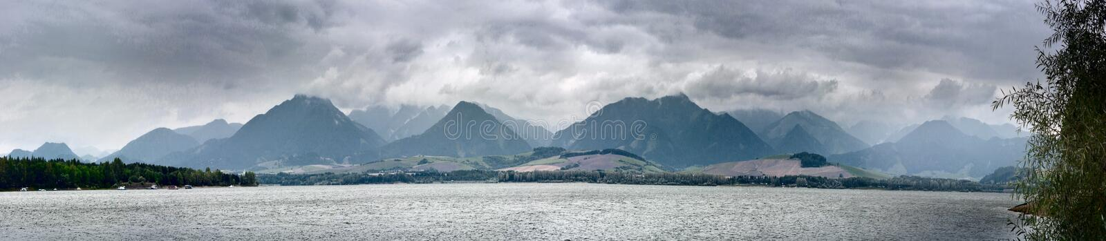Summertime landscape banner, panorama with view against Liptovska Mara is a reservoir and the mountains Western Carpathians royalty free stock photos