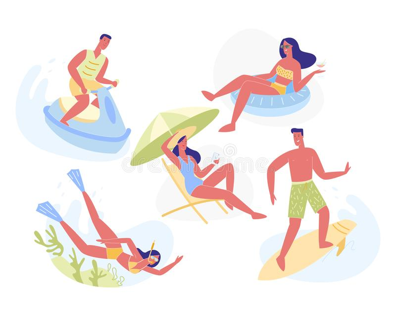 Summertime Leisure and Holiday Activities Set royalty free illustration