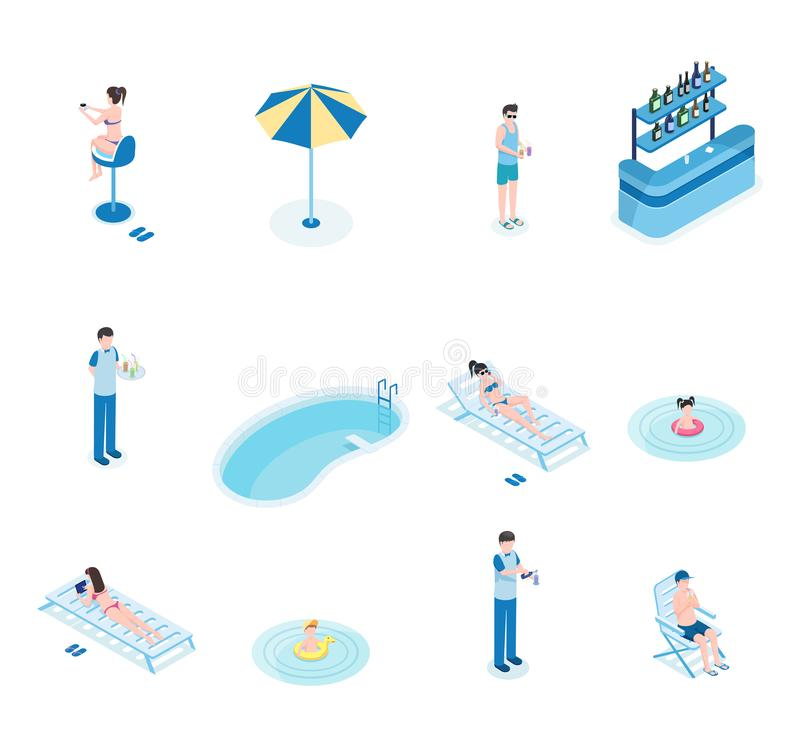 Summertime leisure isometric vector illustrations set. Tourists, bartender and waiter 3D cartoon characters. Women lying. Summertime leisure isometric vector royalty free illustration