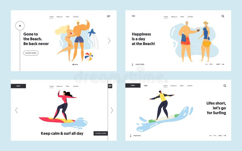 Summertime Leisure, Sport Activity Website Landing Page Set, Young and Senior People Relaxing on Beach, Surfing. Spending Time on Exotic Seaside Web Page stock illustration