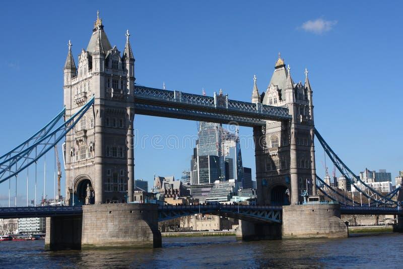 Summertime in London, Tower Bridge, London, England. Blue skies in summertime over Tower Bridge. London, United Kingdom royalty free stock photography