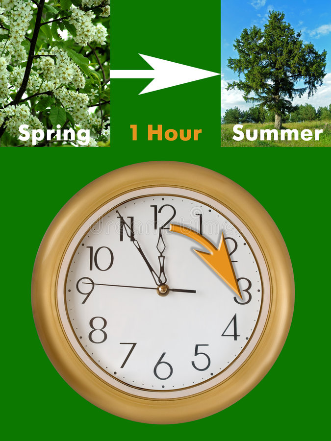 Summertime period begins (Daylight Saving Time). Summertime period begins (last Sunday in March in European Union), Daylight Saving Time stock photos