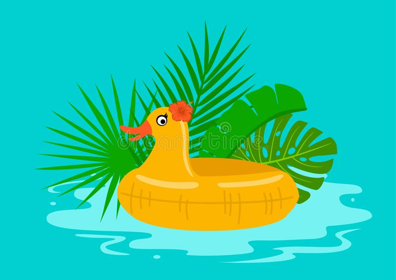 Summertime pool beach holidays background with swimming children duck float vector illustration