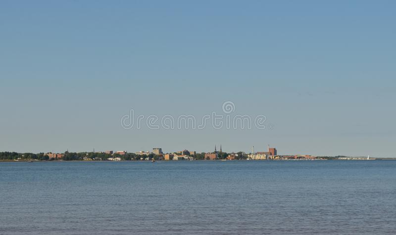 Summer on Prince Edward Island: Charlottetown Seen From Across the Harbour. Summertime on Prince Edward Island: Charlottetown Seen From Across the Harbour royalty free stock photography