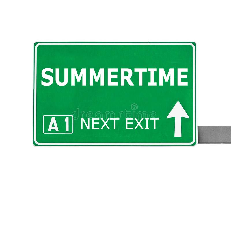 SUMMERTIME road sign isolated on white royalty free stock images