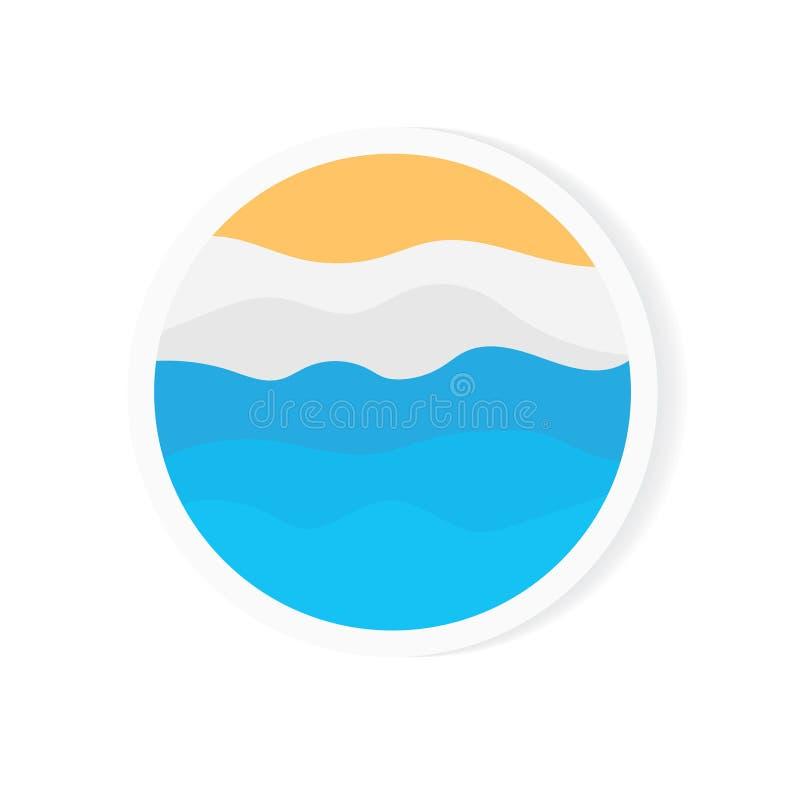 Summertime, sandy beach sticker vector illustration