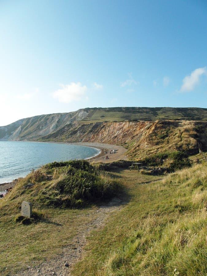 Tyneham beach in the summertime. A summertime scene along Tyneham beach in Dorset, UK stock photo