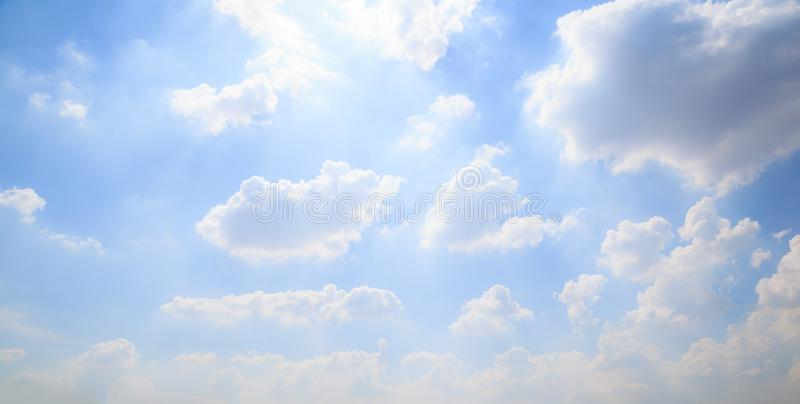 Summertime Season, Nice Natural Landscape View of bright sunny day with colorful blue sky cloudscape background. Traveling,. Vacation, Refreshing, Relaxing stock photography