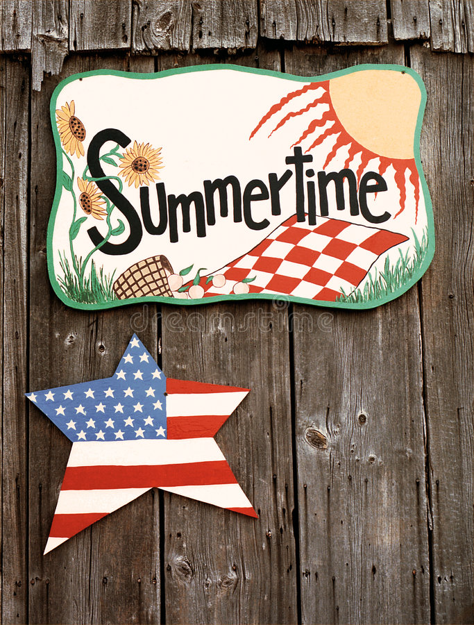 Download Summertime Sign On Barn Wall Stock Image - Image of sunny, handmade: 1475797