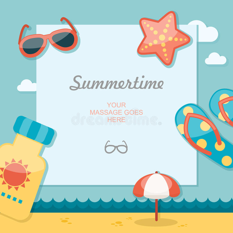 Summertime traveling template royalty free illustration