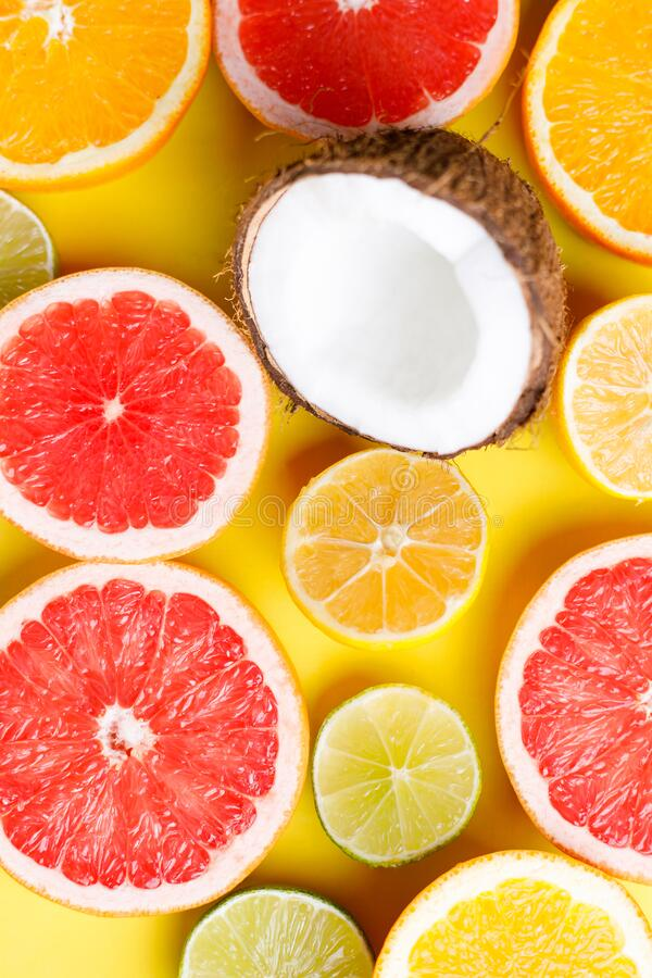 Summertime tropical background, citrus texture royalty free stock photo