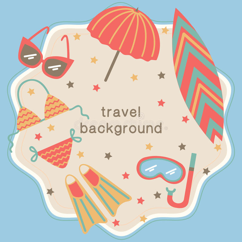 Summertime vacations and traveling background. royalty free illustration