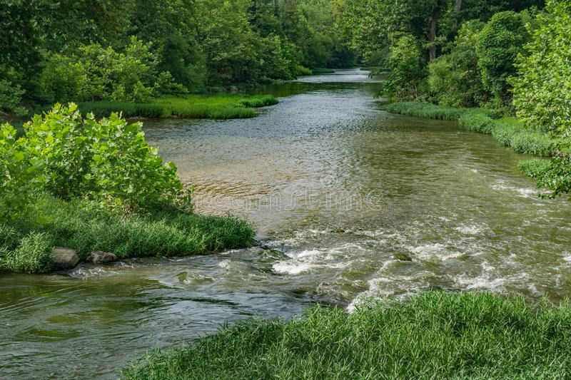 Summertime View of the Roanoke River. A summertime view of the peaceful Roanoke River flowing through the Roanoke Valley located in Virginia, USA stock photography
