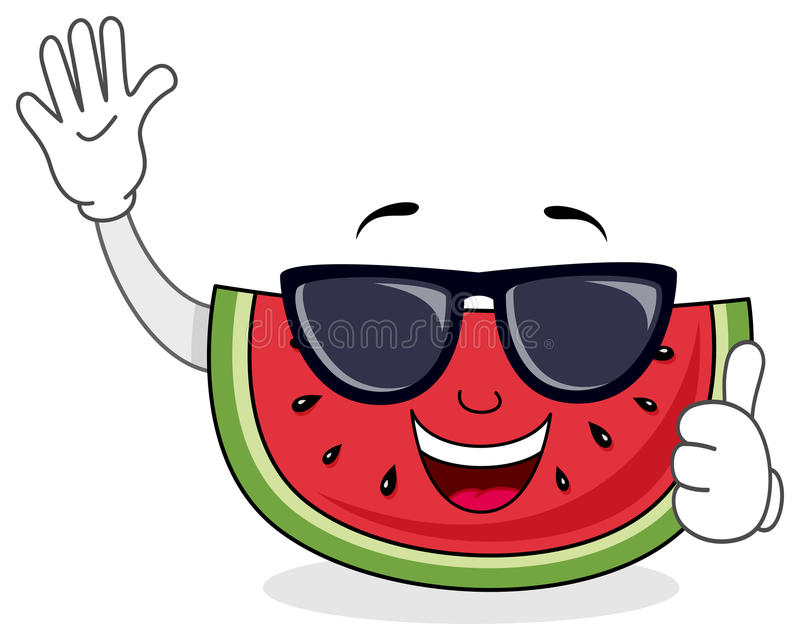 Summertime Watermelon with Sunglasses royalty free illustration