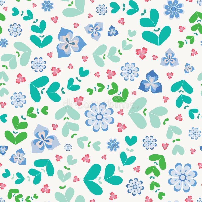 Summery безшовная картина повторения стилизованных цветков и листьев Милый флористический дизайн вектора в зеленом, голубом и роз иллюстрация штока