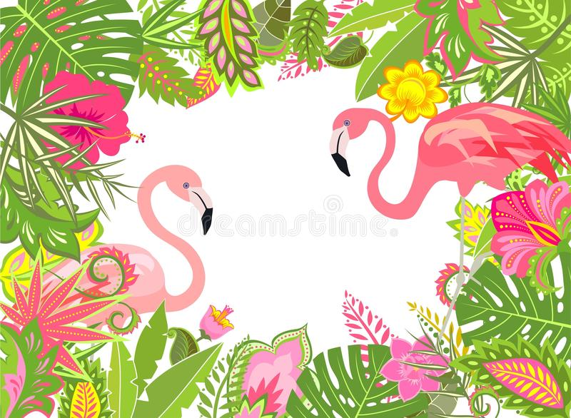 summery holiday frame with exotic leaves lily and pink flamingo stock vector illustration of. Black Bedroom Furniture Sets. Home Design Ideas