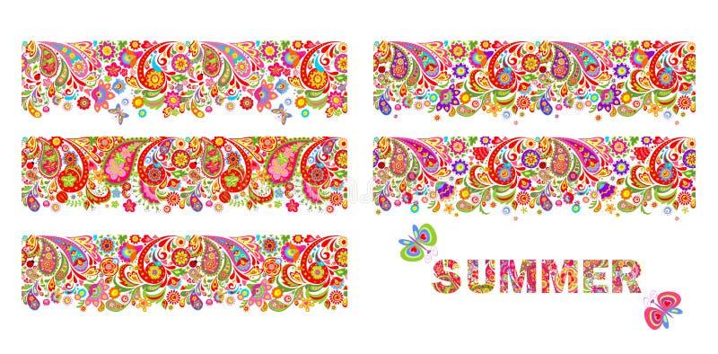 Summery kolorowe kwieciste granicy kolekcja i druk z lato kwiatów pisać list royalty ilustracja