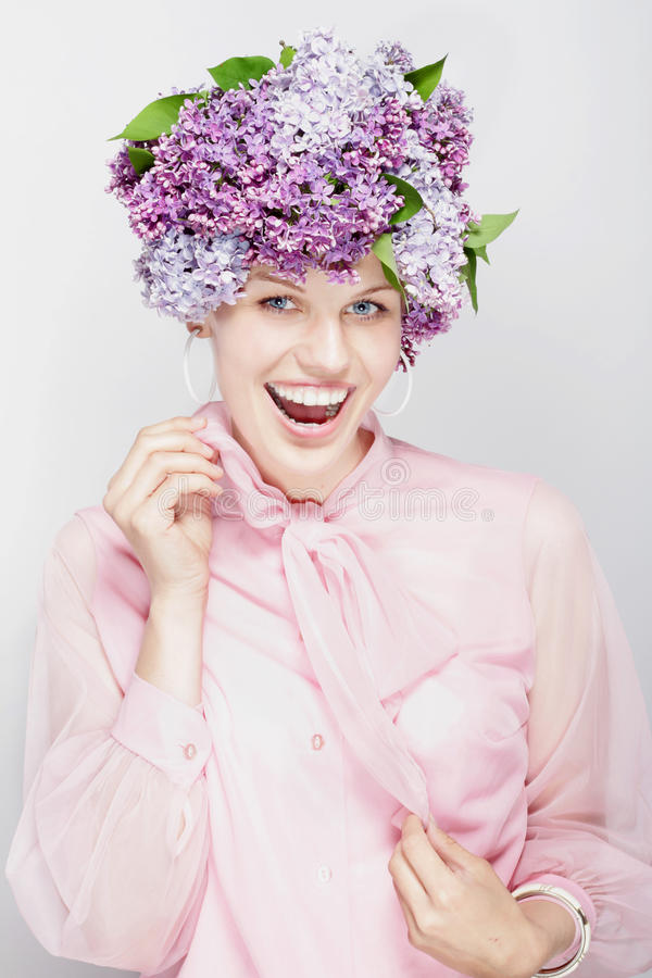 Download Summery Picture. Girl With Flowers And A Big Smile Royalty Free Stock Image - Image: 24991036