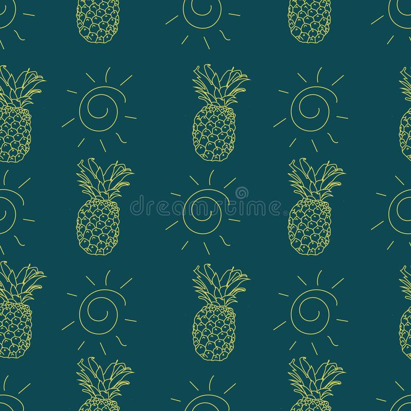 Summery seamless pattern background with pineapple and sun motifs. stock illustration