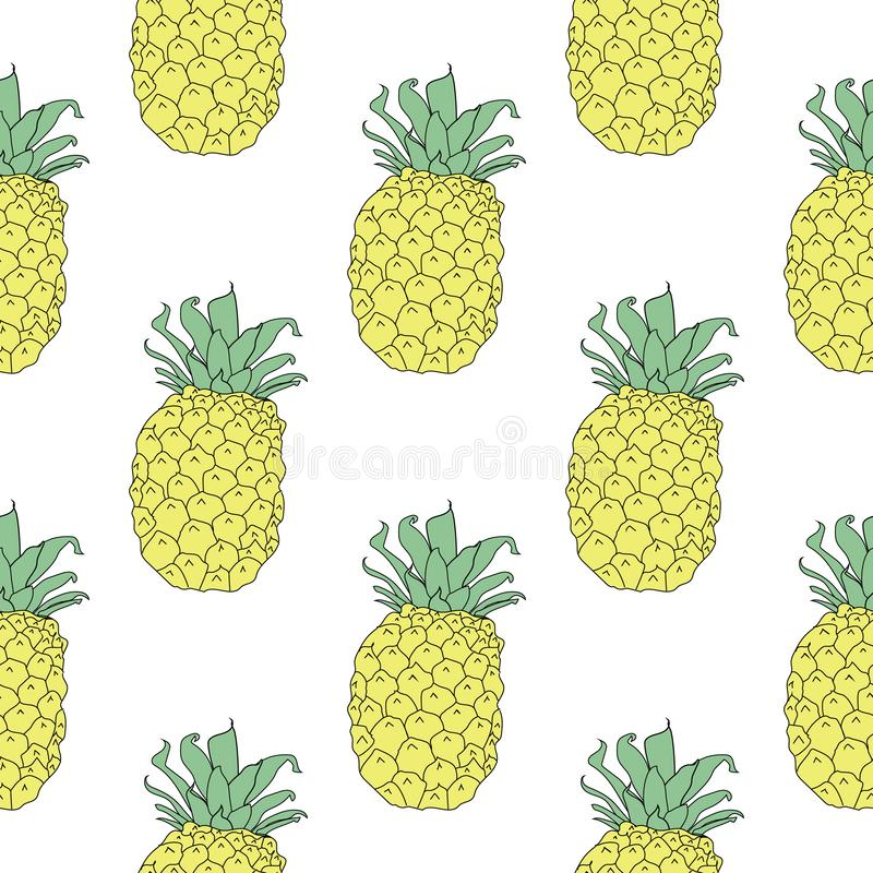 Summery seamless pattern background of yellow pineapples. stock illustration