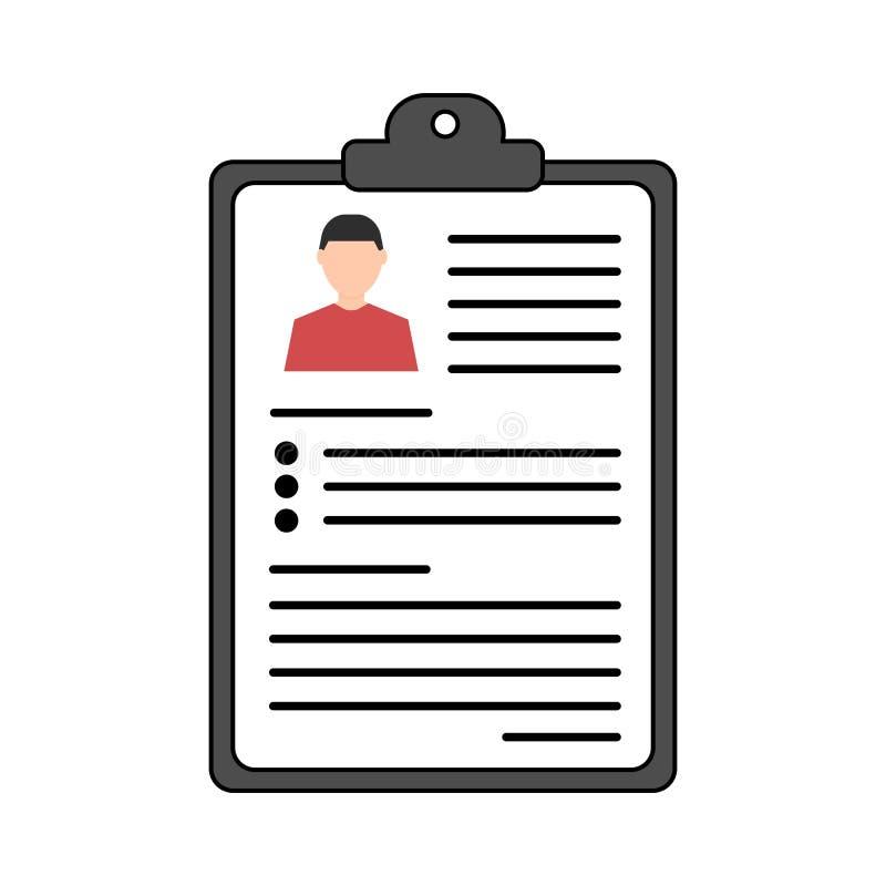 Summier Concept Vector hervat pictogram rekrutering Document met informatie over een persoon Vlak Ontwerp stock illustratie