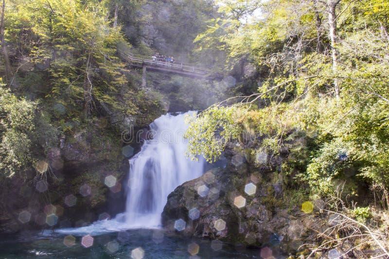 Summieren Sie Wasserfall und Holzbrücke in der Vintgar-Schlucht in Sloveni stockbild