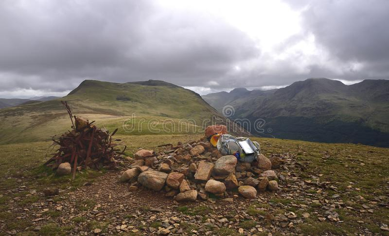Summit carins on Starling Dodd. Stone and metal cairns on Starling Dodd stock images
