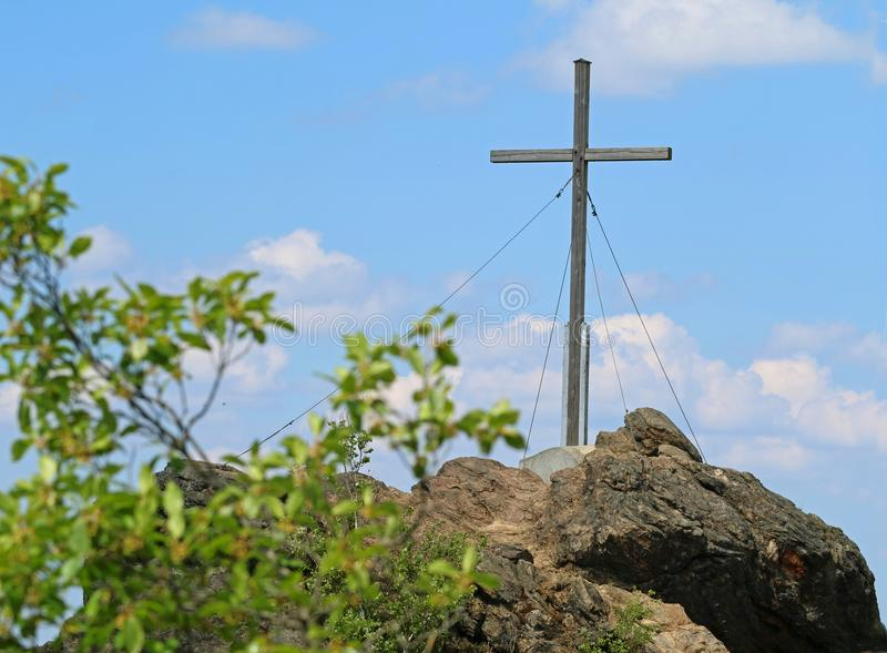 Summit cross of the silver mountain, silberberg in the bavarian forest stock image